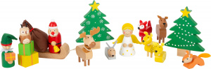 Small Foot speelset kerstmis junior hout/textiel 17-delig