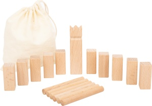 Small Foot werpspel Mini-Kubb Viking Game hout 18-delig