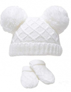 Soft Touch babymuts en wanten Diamond Knit acryl wit 2-delig