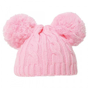 Soft Touch babymuts met pompoms junior acryl roze maat S