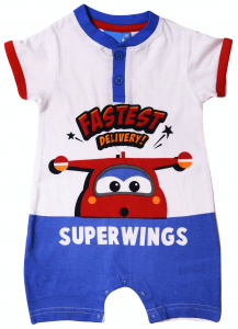 Super Wings romper Fastest Delivery katoen blauw/rood mnd