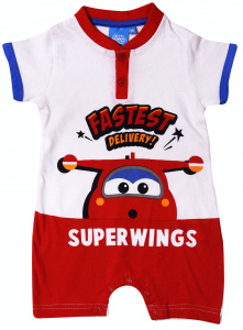 Super Wings romper Fastest Delivery katoen rood/blauw mnd