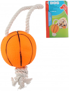 TOM hondenspeelgoed basketbal 7,5 cm rubber oranje
