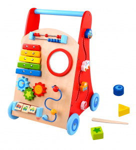 Tooky Toy loopwagen junior 51 cm hout rood/naturel