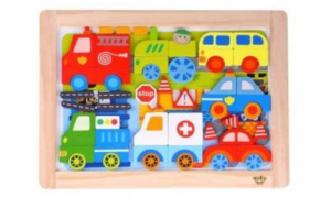 Tooky Toy magnetische legpuzzel junior 38 cm hout/staal 59-delig