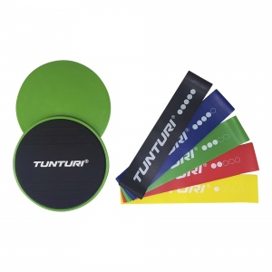 Tunturi fitness-set weerstandsbanden en core sliders 7-delig