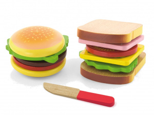 Viga Toys hamburger en sandwich junior hout 11-delig
