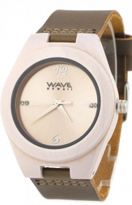 Wave Hawaii horloge Citizen Miyota heren 4 cm hout/leer wit/bruin