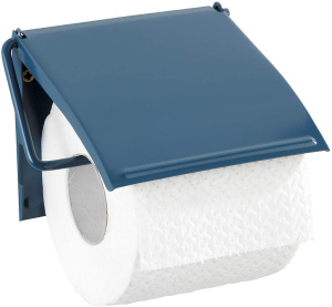 Wenko toiletrolhouder Cover 13,5 x 12 cm staal donkerblauw