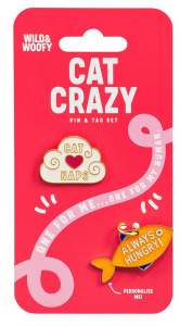 Wild & Woofy broches Cat Crazy staal wit/oranje2 stuks