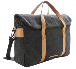 XD Collection laptoptas 16 liter canvas zwart/bruin