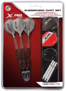 XQ Max dartset Rubberised softtip 18 gr grijs/rood 27-delig