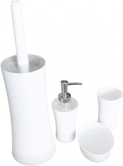 toiletaccessoire-set staal wit 4-delig