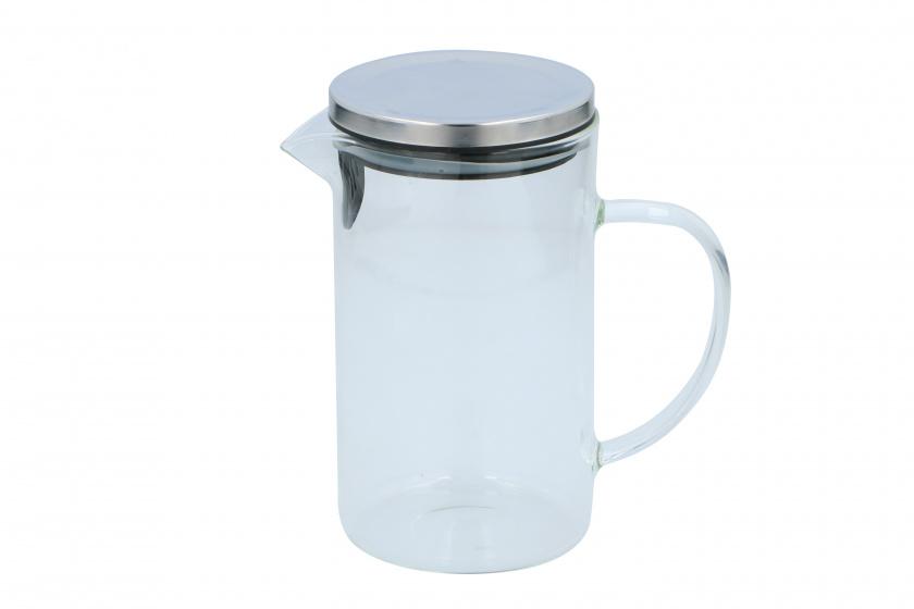 karaf met deksel 1 liter glas/RVS transparant/zilver