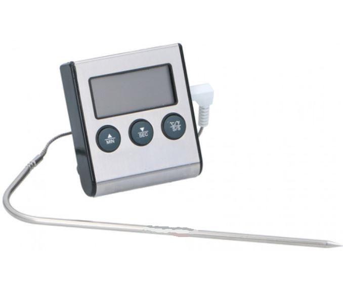 vleesthermometer digitaal en timer zilver 15 cm