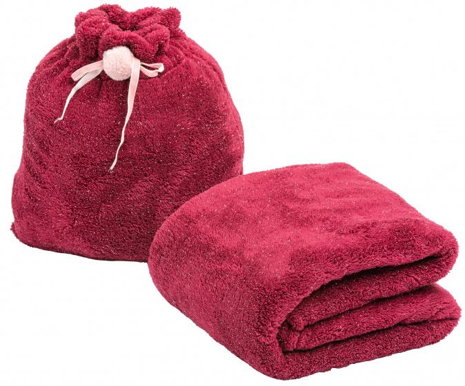 deken in tasje 120 x 160 cm polyester rood