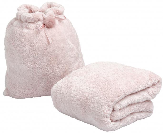 deken in tasje 120 x 160 cm polyester roze