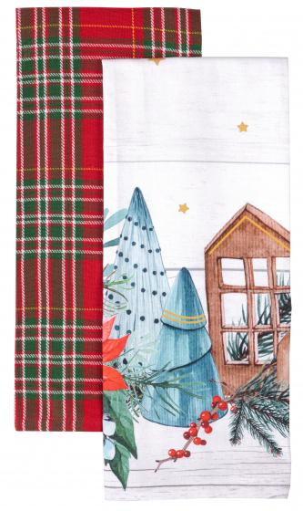 theedoek Huisjes 45 x 65 cm katoen wit/rood 2 stuks