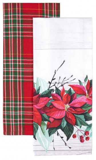 theedoek Bloemen 45 x 65 cm katoen wit/rood 2 stuks