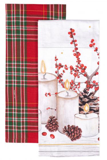 theedoek Kaars 45 x 65 cm katoen wit/rood 2 stuks