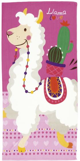 badhanddoek Lama 80 x 160 cm microvezel roze