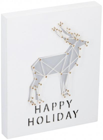 kerstdecoratie met LED hert 20x25x3,5 cm hout wit