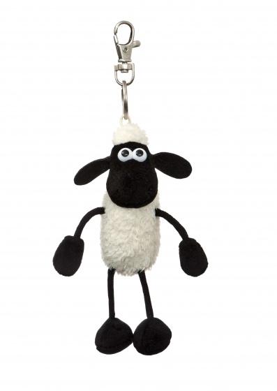 sleutelhanger Shaun het schaap 14 cm wit/zwart