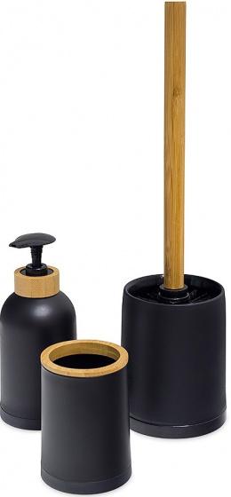 badkamerset Zen bamboe/PP zwart/naturel 3-delig