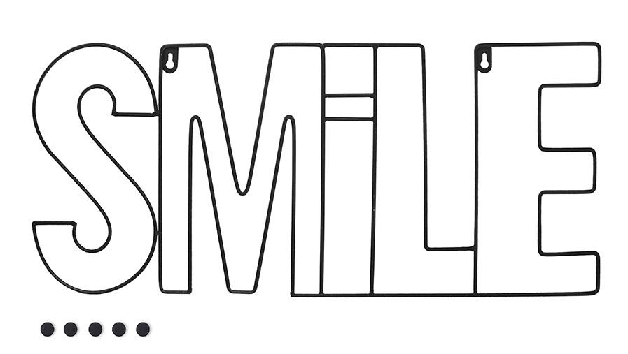fotohouder Smile 59,5 x 26 cm metaal zwart 6-delig