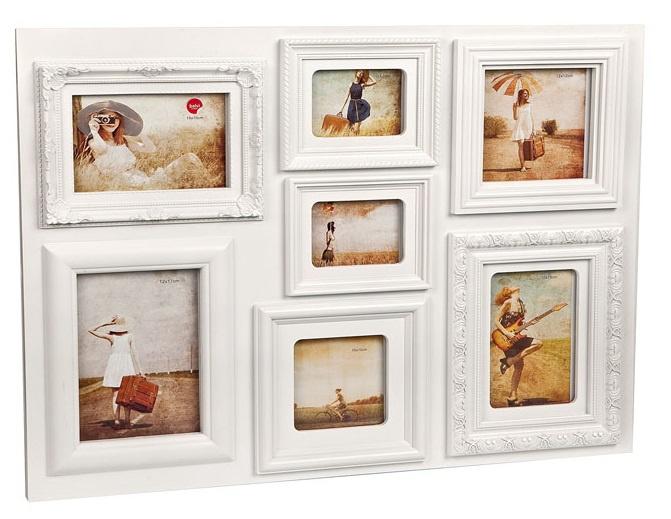 fotolijst Baroque 46 x 60,5 cm polypropyleen wit 7 foto\'s