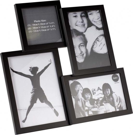 fotolijst Insernia 30,5 x 30,5 cm zwart 4 foto\'s