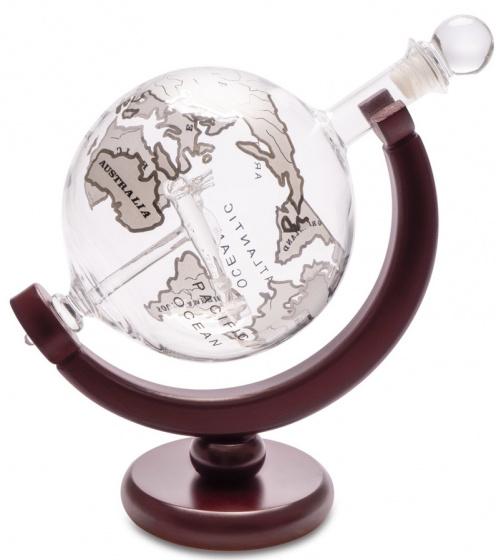 karaf Whiskey 800 ml 22 x 20,5 cm glas/hout bruin
