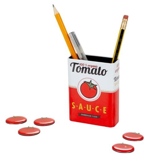 penhouder Tomato magnetisch 9,5 x 3 cm tin rood/wit 6-delig