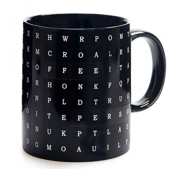 mok Alfabet 290 ml 12,3 x 9,5 cm keramiek zwart