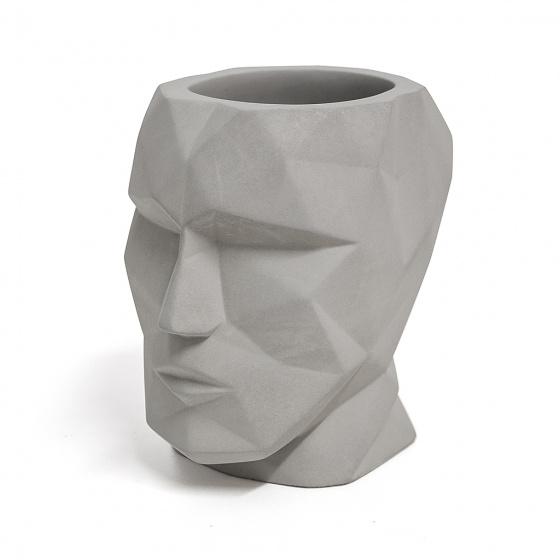 pennenbakje The Head 12 x 11,5 cm cement grijs