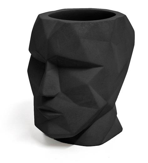 pennenbakje The Head 12 x 11,5 cm cement zwart