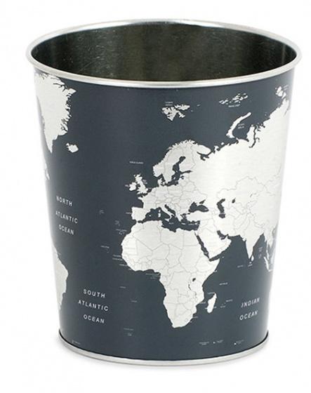 prullenbak Globe blik zwart/zilver