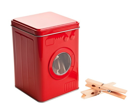 opbergdoos wasmachine 14 x 10 cm tin rood