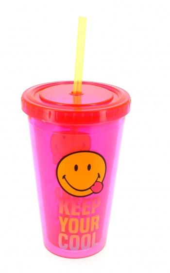 drinkbeker met rietje Smiley 500 ml roze/geel