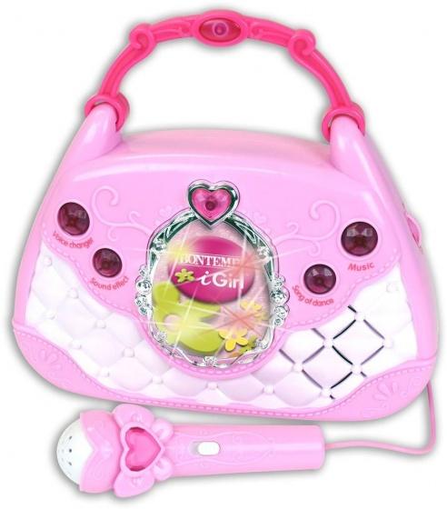 muziektasje met microfoon meisjes 35 cm roze