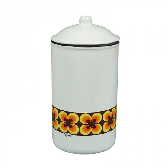 voorraadpot Ramona 1 liter keramiek wit/geel