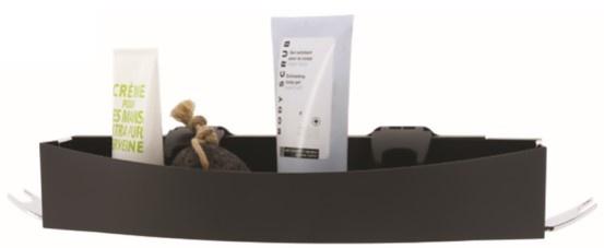 douche- en badrekje 35,6 x 10,2 cm kunstvezel zwart