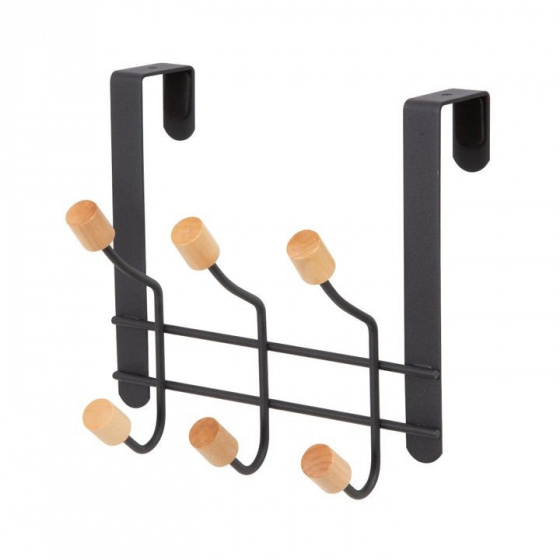 deurhanger Helsinki 6-haaks 28 cm staal/hout zwart