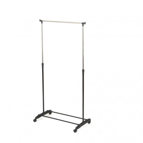 kledingrek 85 x 43 x 108/175 cm staal zwart/zilver