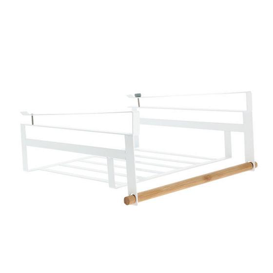 hangschap 32 x 30 x 14.5cm staal/hout wit/naturel