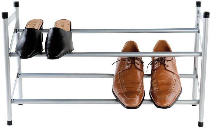 schoenenrek uitschuifbaar 62 x 23 x 35 cm zilver