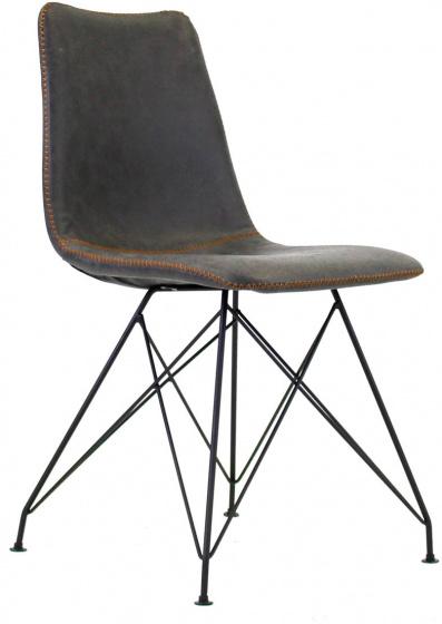 eetkamerstoel 56 x 87 cm kunstleer/staal grijs