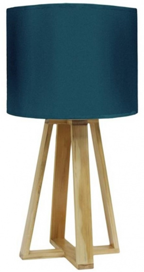 staande lamp 23 x 48 cm hout/polyester bruin/blauw