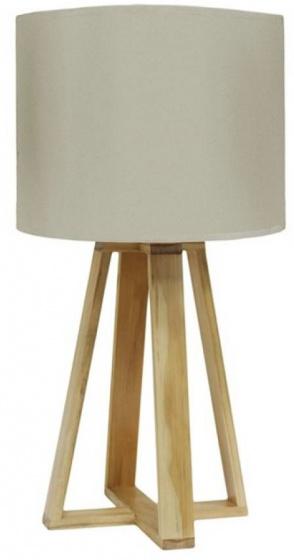 tafellamp 23 x 48 cm textiel/hout crème/bruin