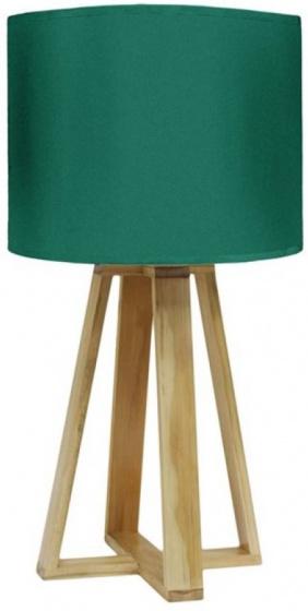 tafellamp 23 x 48 cm textiel/hout groen/bruin